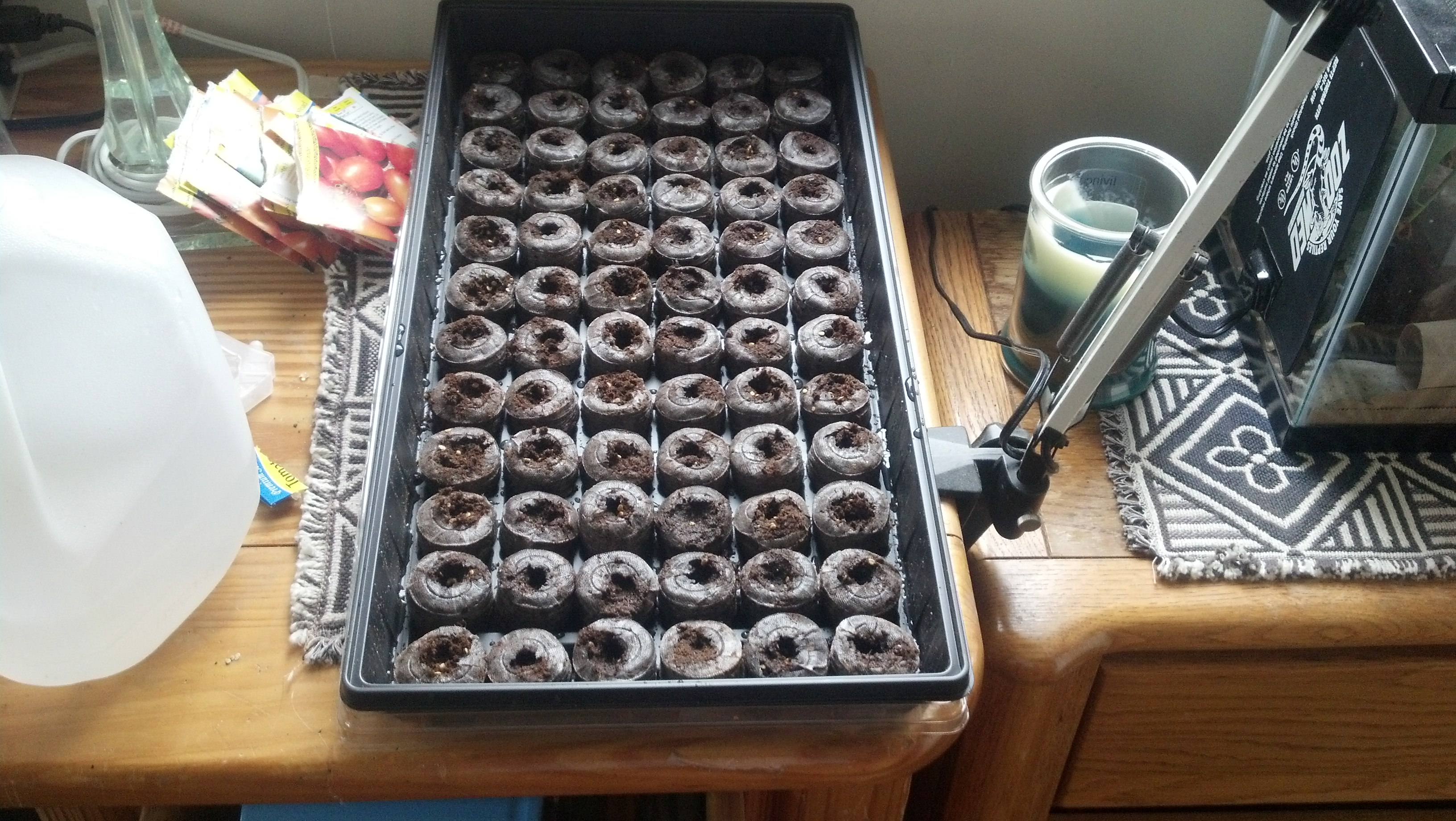 Here are all 72 pucks water and populated. With well over 100 seeds planted.